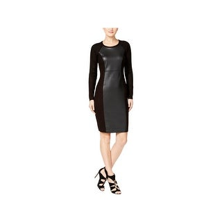 Calvin Klein Womens Sweaterdress Ribbed Knit Faux Leather Trim