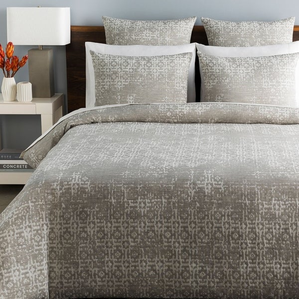 """92"""" Charcoal Gray Distressed Finish Full/Queen Duvet Set with Two Standard Shams - N/A"""