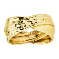 Eternity Gold Crisscross Double Band Ring in 10K Gold - Yellow