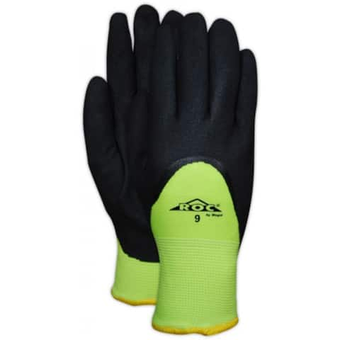 Magid ROC28HVWTXL ROC Sandy Nitrile Coated Gloves, Hi-Vis Yellow, X-Large