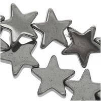 Hematite 7mm Flat Star Beads Metallic Gray / 15.5 Inch Strand
