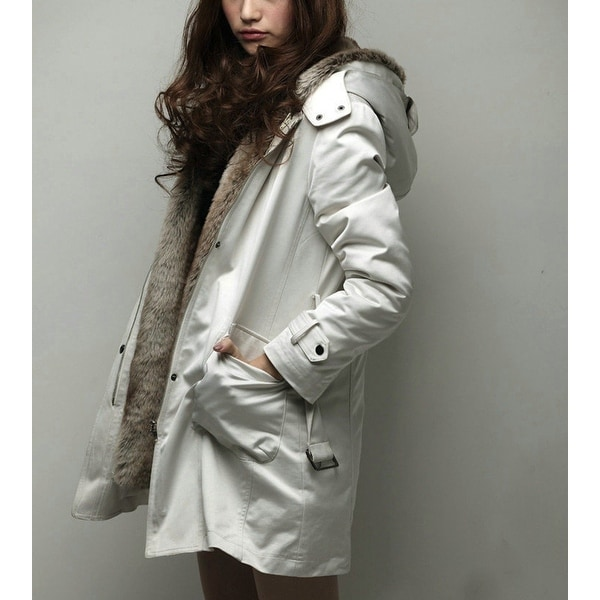 52ad234b89f9 Shop Womens Off White Detachable Faux Fur Lining Trench Coat - Small - Off  White - Free Shipping Today - Overstock - 24112621