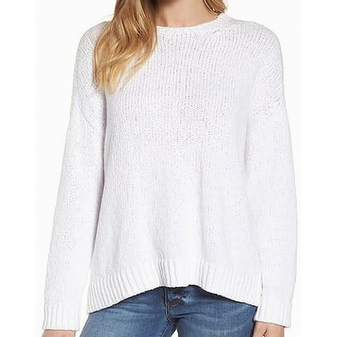 Eileen Fisher Women's White Size Large L Crewneck Cotton Sweater