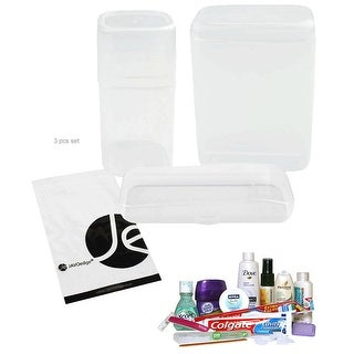 JAVOedge Travel Set Clear See Through Toothbrush, Toothpaste and Razor Plastic Storage Holder 3 Set in Different Sizes