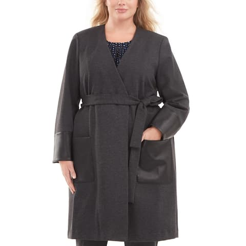 Calvin Klein Womens Cardigan Top Faux Leather Trim Duster - Black