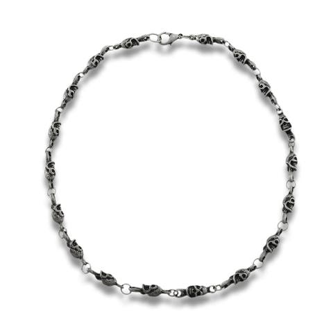 Matte Pewter Finish Industrial Skull Link Necklace - One Size
