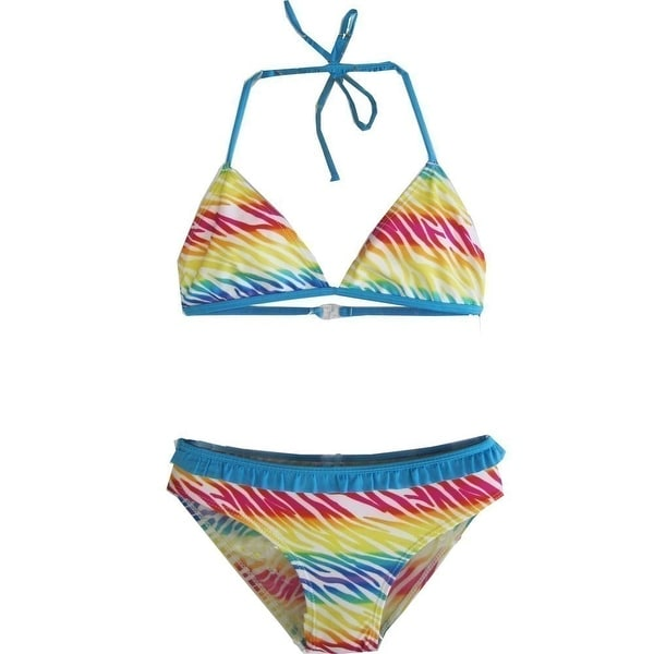 450a7f7fbd Shop 2B Real Little Girls Blue Yellow Red Ruffles Two Piece Bikini Swimsuit  4-6X - Free Shipping On Orders Over $45 - Overstock - 19293719
