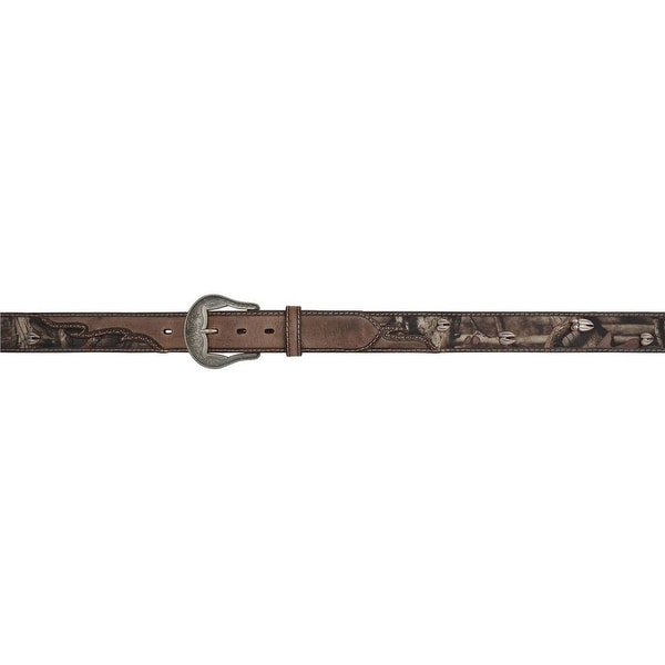 3D Belt Western Mens Distressed Leather Camo Inlay Brown