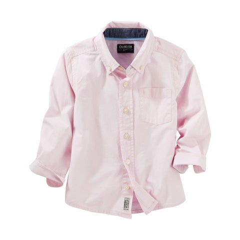 OshKosh B'gosh Big Boys' Button Down Dress Shirt- Pink - 14 Kids