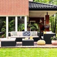 Costway 6 PCS Outdoor Patio Rattan Wicker Sectional Furniture Set Table Sofa Cushioned - Black