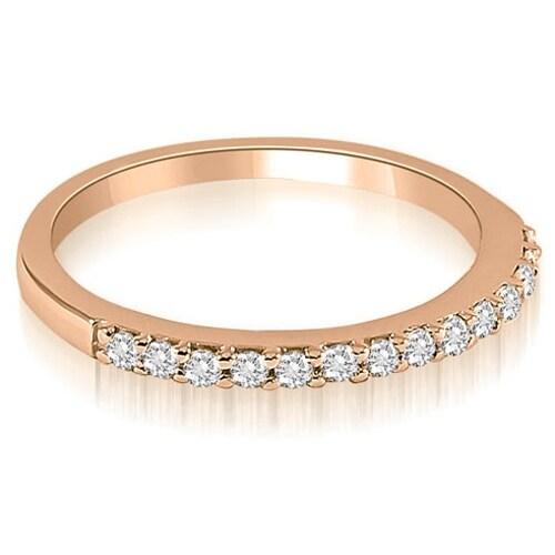 0.21 cttw. 14K Rose Gold Classic Round Cut Diamond Wedding Band