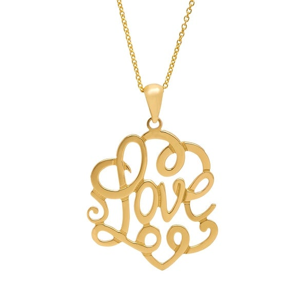 Script 'Love' Filigree Pendant in 14K Gold-Plated Sterling Silver - Yellow
