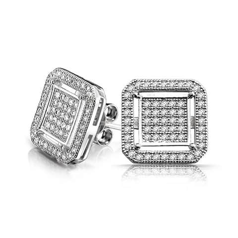 Geometric Rounded Square Double Box Cubic Zirconia Pave CZ Stud Earrings For Men 925 Sterling Silver 12mm