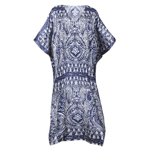 Metropolitan Women's Navy Batik Long Lounger - Printed V-Neck Silky Caftan Dress - One Size