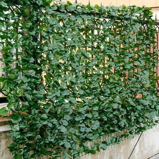 Costway 40''x95'' Faux Ivy Leaf Decorative Privacy Fence Screen Artificial Hedge Fencing - Green