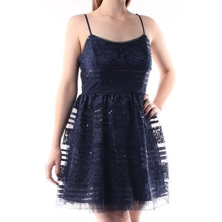 Womens Navy Spaghetti Strap Micro Mini Fit + Flare Formal Dress Size: 7