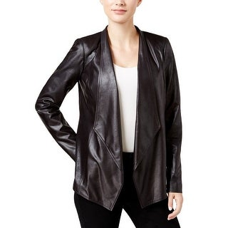 JM Collection Womens Faux-Leather Jacket, Black, Size S