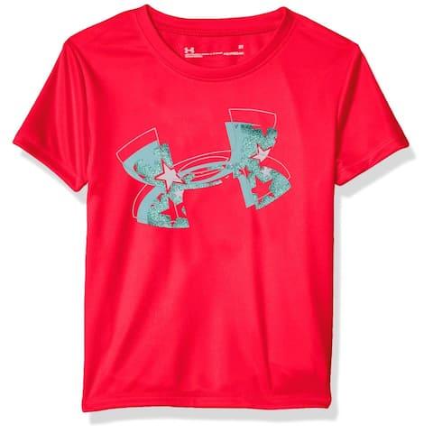 Under Armour Girls T-Shirts Red Size 4 Heat-Gear Moisture-Wicking Logo 188