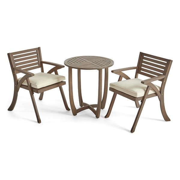 Coronado Outdoor 3 Piece Wood Bistro Set By Christopher Knight Home On Sale Overstock 11152135