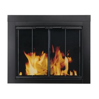 Pleasant Hearth AT-1001  Ascot Fireplace Screen and Bi-Fold Track-Free Glass Doors, Medium - Black Powder Coated
