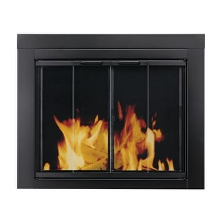 Pleasant Hearth AT-1002  Ascot Fireplace Screen and Bi-Fold Track-Free Glass Doors, Large - Black Powder Coated