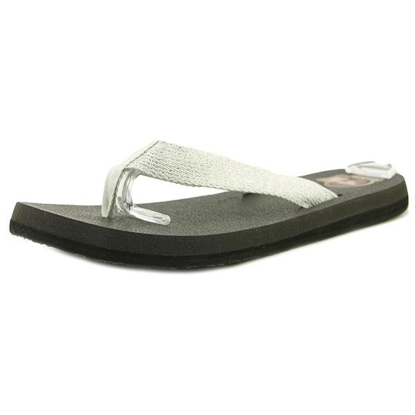 Sanuk Yoga Mat Web-Bling Women Open Toe Synthetic Silver Thong Sandal