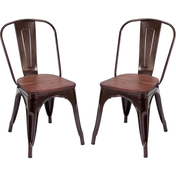 Costway Copper Set Of 4 Metal Wood Counter Stool Kitchen: Shop Costway Set Of 2 Dining Side Chair Stackable Bistro