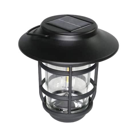 "Classy Caps SHW553 Nottingham 7"" Tall Solar LED Lantern Path Light - Black"