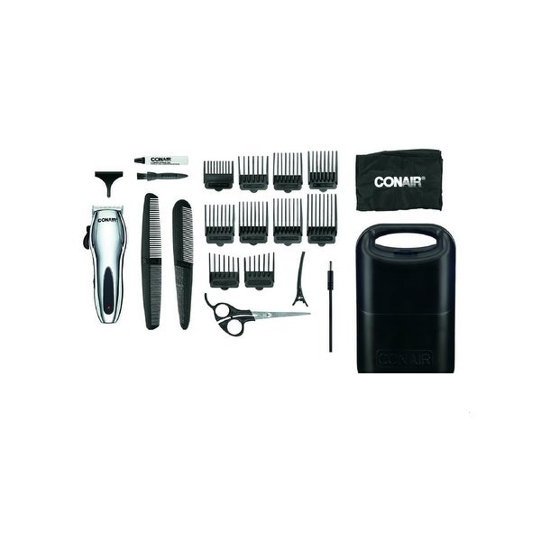 Conair Cord/Cordless Rechargeable 22Pc. Home Haircutting Kit; Chrome