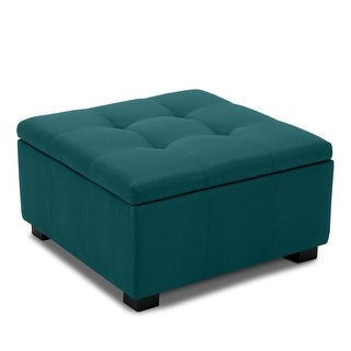 BELLEZE Storage Ottoman Foot Bench Tufted Vintage Style Living Room Bedroom (Blue)