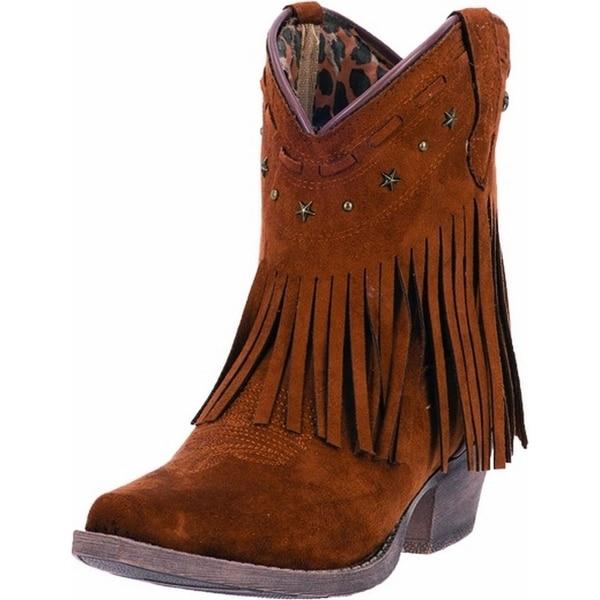 "Dingo Western Boots Womens 7"" Cowboy Metal Star Rust Fringe"