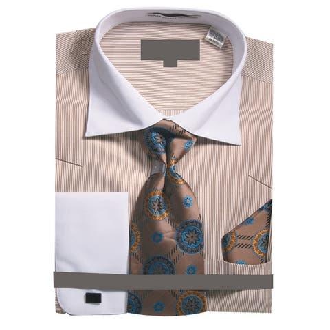 Men's Pin Stripe Dress Shirt w Tie Hanky Cufflinks