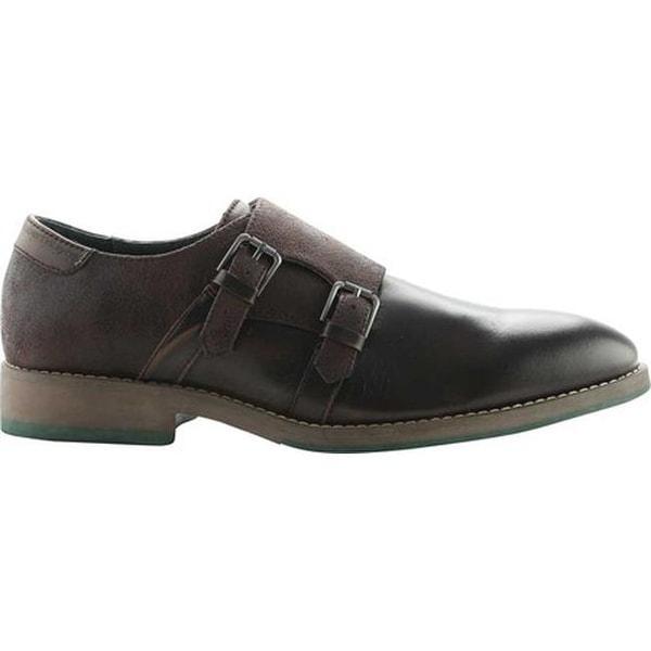 ROBERT WAYNE Men's Thane Double Monk Strap Oxford Brown Leather