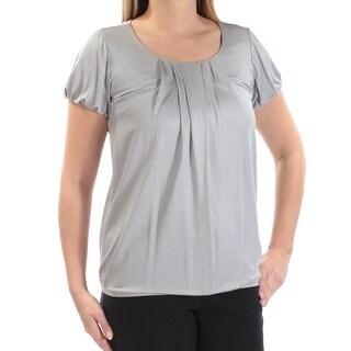 Womens Gray Short Sleeve Jewel Neck Top Size L