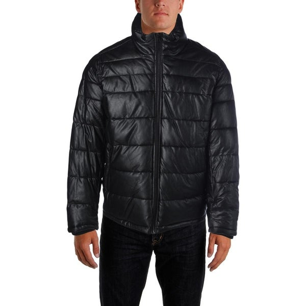 Tommy Hilfiger Mens Puffer Coat Faux Leather Quilted