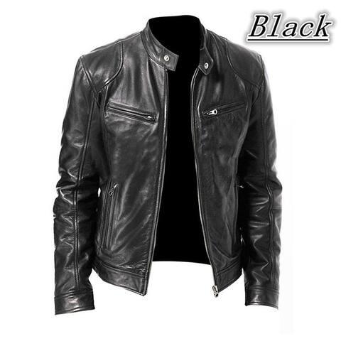 Fashion Men Vintage Cool Motorcycle Leather Jacket Autumn Winter Long Sleeve Jacket Coat Stand Collar Club Bomber Jacket