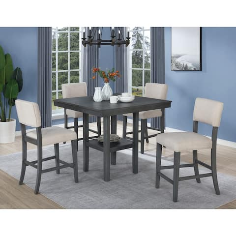 Best Master Furniture Rustic Grey 5 Pieces Counter Height Set