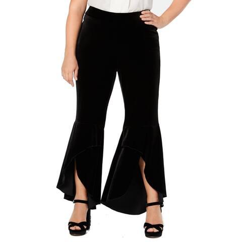 INC Women's Black Size 22W Plus Pull On Velvet Ruffle Hem Pants Stretch