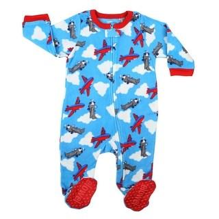 Elowel Little Boys Blue Red Airplane Print Footed Fleece Sleeper Pajama