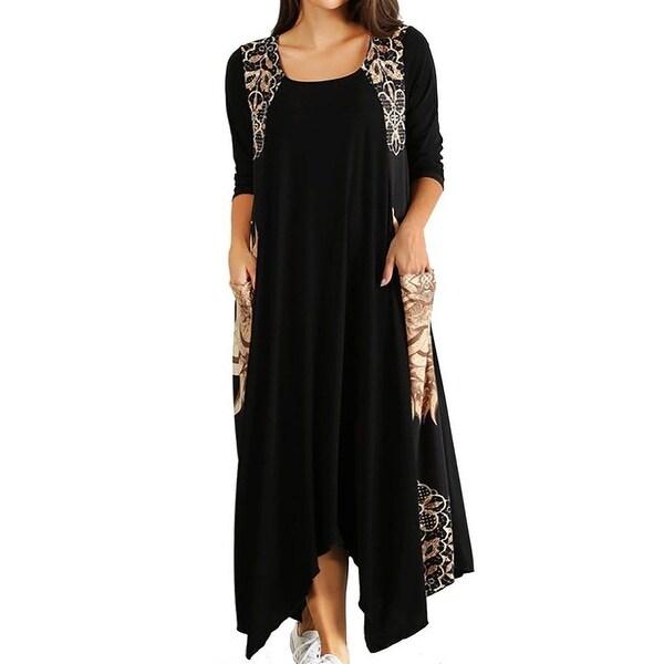 Funfash Plus Size Women Black Caramel Long Sleeves Maxi Long Dress