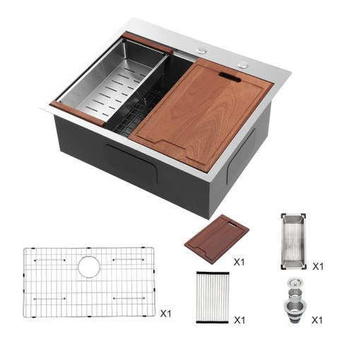 Single Bowl Rectangle Stainless Steel Drop-In Kitchen Sink with Drain