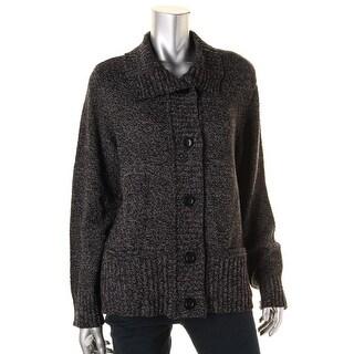 Karen Scott Womens Rib Trimmed Marled Cardigan Sweater - M