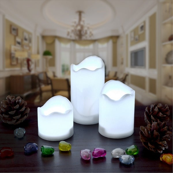 3PCS/set LED Flameless Flickering Candles Battery Operated Smokeless for Decorations Cool White