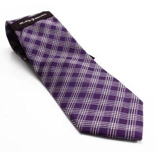 Black Brown 2786 NEW Purple Textured Grid Plaid Men's Classic Necktie