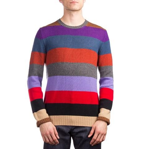 Prada Men's Cashmere Crewneck Striped Sweater Multicolor