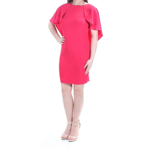 2d65b633 Shop CALVIN KLEIN Womens Pink Ruffled Sleeveless Jewel Neck Above The Knee  Shift Cocktail Dress Petites Size: 0 - Free Shipping On Orders Over $45 ...
