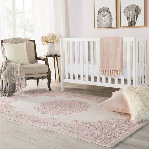 Copper Grove Pascal Medallion Pink/ White area Rug - 2' x 3'