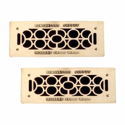 2 Floor Wall Heat Air Grill Vent Grate Solid Brass 4.75 x 11 Renovator's Supply