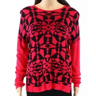 Kensie NEW Pink Black Womens Size Small S Geo-Print Scoop Neck Sweater