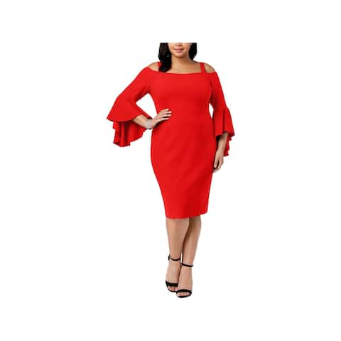 R&M Richards Womens Plus Cocktail Dress Off-The-Shoulder Bell Sleeves